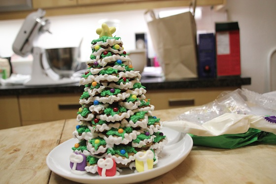 assembled and decorated a gingerbread christmas tree